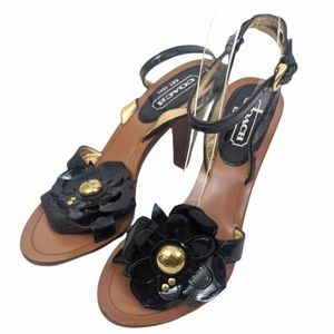 Coach Flower Heel Sandals 7 Black Gold Patent Leather Strappy Open Toe Dressy